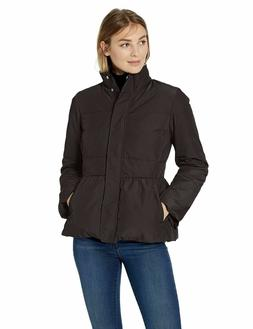 Lark & Ro Women's Peplum Puffer Jacket Black Small