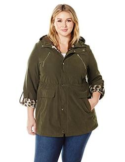 Lark & Ro Women's Plus Size Utility Jacket, Olive Green, 1 X