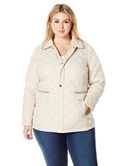 Lark & Ro Women's Plus Size Quilted Barn Jacket, Pearl, 2 X