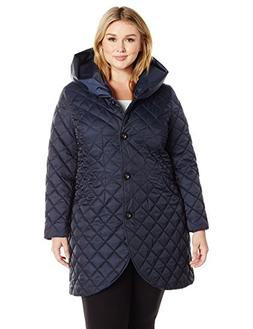 Lark & Ro Women's Plus Size Quilted Shawl Collar Tulip Jacke