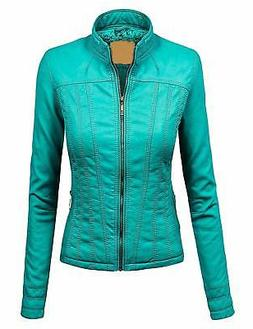 Lock and Love LL Womens Faux Leather Zip Up Bomber Jacket W/
