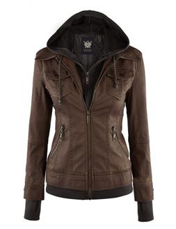 Lock and Love LL Womens Hooded Faux leather Jacket