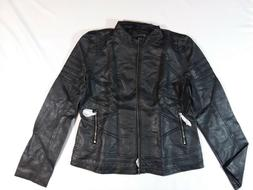 Lock and Love LL Womens Quilted Black Leather Biker Jacket S