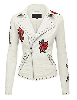 MBJ WJC1495 Womens Floral Embroidered Faux Leather Motorcycl
