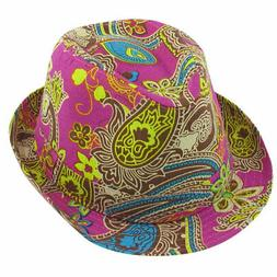 Men Women Summer Outdoors Paisley Pattern Fuchsia Fedora Tri