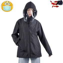 Men Women Waterproof Hooded Outdoor Coat Removable Face Prot