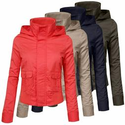 NE PEOPLE Women's Cropped Casual Parka Anorak Cargo Bomber J