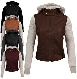 NE PEOPLE Women's Fitted Mixed Media Faux leather Zip Up Bik