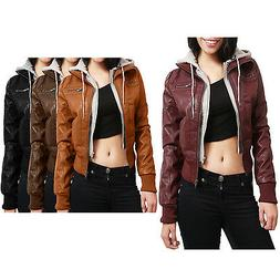 NE PEOPLE Women's Light Weight Faux Leather Moto Jacket with