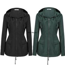 New Women Casual Hooded Long Sleeve Solid Raincoat Windbreak
