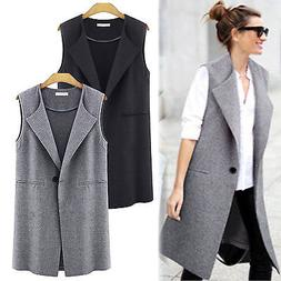 Women Casual Sleeveless Long Duster Coat Jacket Cardigan Sui