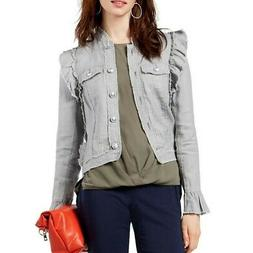 INC NEW Women's 100% Linen Ruffled Basic Jacket Top TEDO