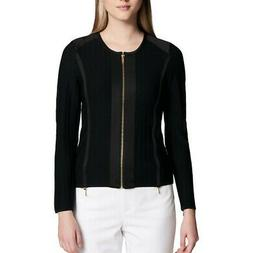 CALVIN KLEIN NEW Women's Black Collarless Full Zip Knit Jack