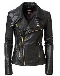 New Women's Black Slim Fit Biker Style Moto Real Leather Jac