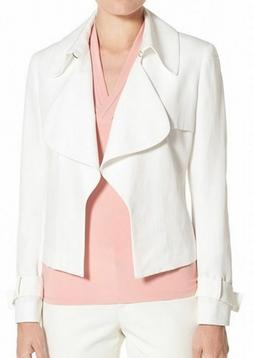 Anne Klein New Women's Solid Linen Notched-Collar Jacket Whi