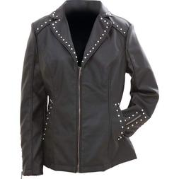 BLACK JACKET Womens Vegan Faux Leather Studded Tailored Poly