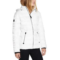 NWT! NAUTICA WATER-RESISTANT HOODED PUFFER JACKET WHITE |AN1