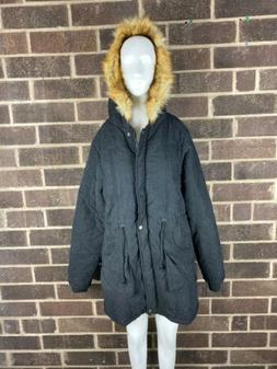 NWT iLoveSia Women's Black Faux Fur Lined Hooded Parka Jac