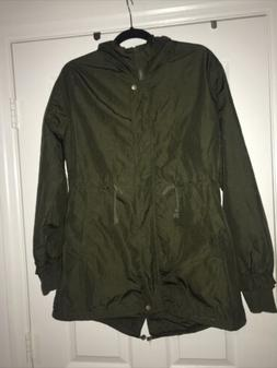 ilovesia olive green Hooded Zip Front Snap jacket Size 12