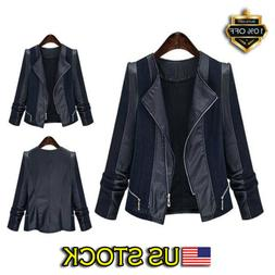 Plus Size Women's Ladies Suede Leather Jacket Flight Coat Zi