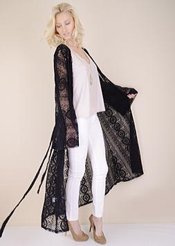 Womens Long Maxi Duster Cardigan Black Embroidered Sheer Lac