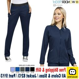 WonderWink Scrubs Set WONDER TECH Warm-Up Style Jacket Strai