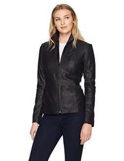 Lark & Ro Women's Scuba Leather Jacket, Black, Small