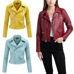 FASHION BOOMY Women's Faux Leather Jacket - Cropped Motorcyc