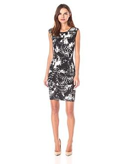Lark & Ro Women's Sleeveless Printed Sheath Dress, Black, 6