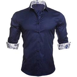 Henraly Slim Men's Shirt Fashion Casual Style Long Sleeve So