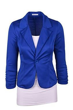 Fashion Boomy Women Solid Colors One Button Blazer Jacket ,R