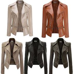 Spring Womens PU Leather Motorcycle Jacket Lapel Biker Short