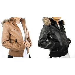 Altatac Women's Faux Leather/Faux Fur Motorcycle Jacket with