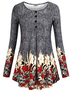 DJT Tunic Shirts for Women, Womens Long Sleeves Floral Tunic