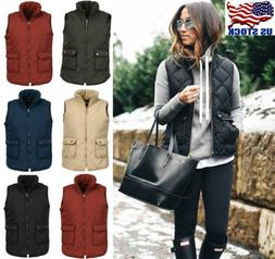 US Fashion Women Slim Plaid zip Jacket Sleeveless Puffer Ves
