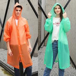 NEW Men Women Waterproof Jacket PE Hooded Raincoat Rain Coat