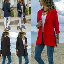 US Women Casual Blazer Suit Top Jacket Lady Slim Long Sleeve