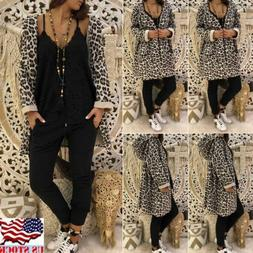 US Women Long Sleeve Cardigan Jacket Casual Blazer Suit Top