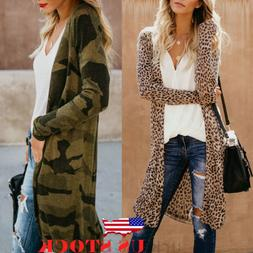 US Women Loose Long Sleeve Cardigan Leopard Kimono Shawl Top