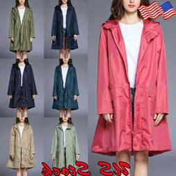 US Women's Hooded Plain Raincoat Waterproof Windproof Coat J