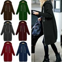 US Women Warm Zipper Hoodie Sweater Hooded Long Jacket Sweat