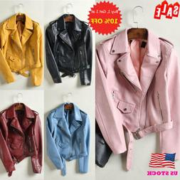 US Womens Faux Leather Motorcycle Biker Jacket Coats Lapel Z