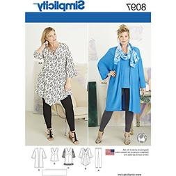 Simplicity Creative Patterns US8097FF Plus Size Tunic, Top,