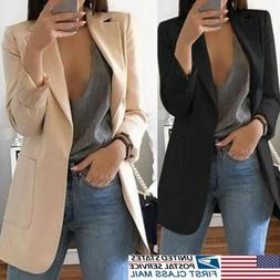 Vintage Women OL Long Sleeve Slim Fit Casual Blazer Suit Jac