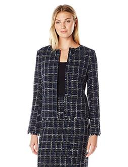 Lark & Ro Women's Windowpane Tweed Jacket, Small