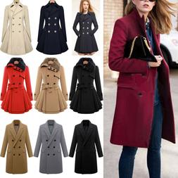 Winter Warm Women Double Breasted Long Trench Parka Coat Out