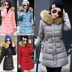 Winter Women Jacket Padded Fur Coat Hooded Parka