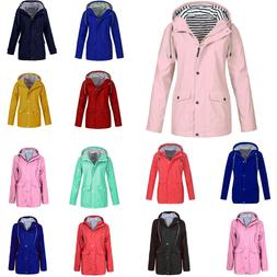 Winter Women Solid Rain Jacket Outdoor Plus Waterproof Hoode