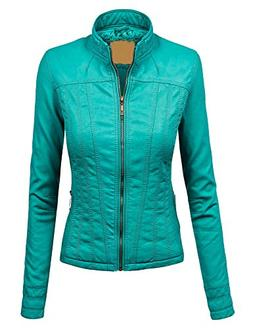 WJC1005 Womens Faux Leather Zip Up Biker Jacket with Inner F
