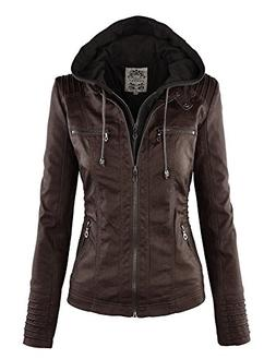 WJC663 Womens Removable Hoodie Motorcyle Jacket S Coffee